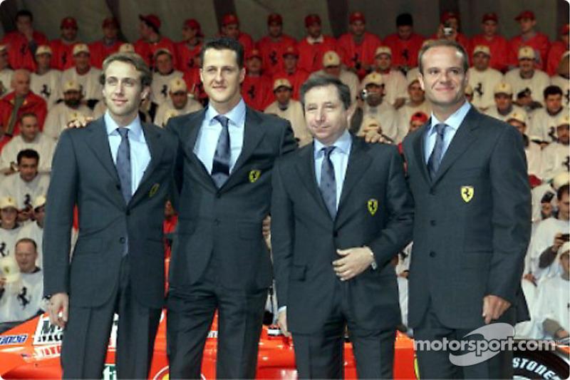 Luca Badoer, Michael Schumacher, Jean Todt and Rubens Barrichello
