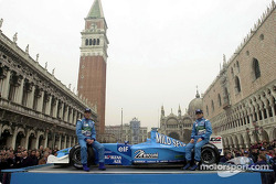 Jenson Button and Giancarlo Fisichella with the B201 on St Mark's Square