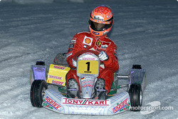 Michael Schumacher driving in the karting exhibition 2