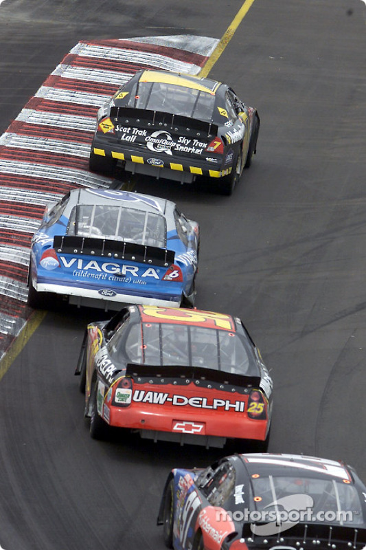 Robby Gordon leading Mark Martin round the tricky Sears Point circuit