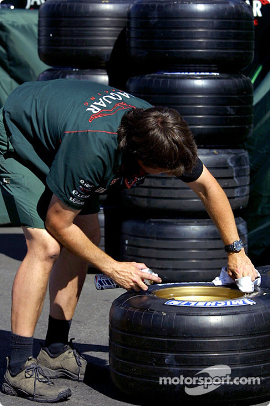 Tire preparation at Jaguar