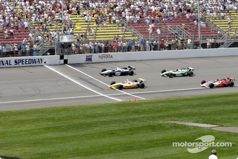 False start: Kenny Brack, Max Papis, Paul Tracy and Tora Takagi