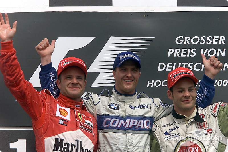 Podium: Rubens Barrichello, Ralf Schumacher and Jacques Villeneuve