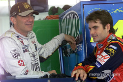 Joint leaders in the Winston Cup points chase, Dale Jarrett and Jeff Gordon chat in the Pocono garage