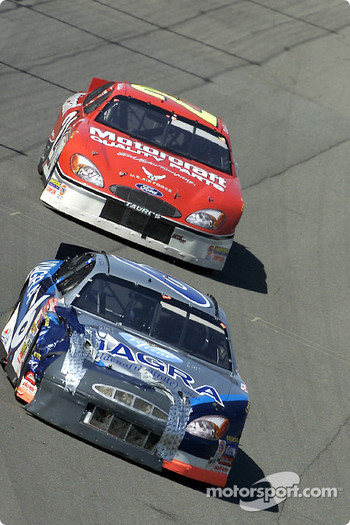 Mark Martin leads Elliott Sadler throught turn one