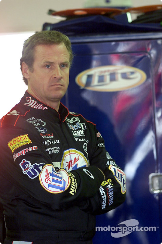 A pensive Rusty Wallace in the garage area at Michigan