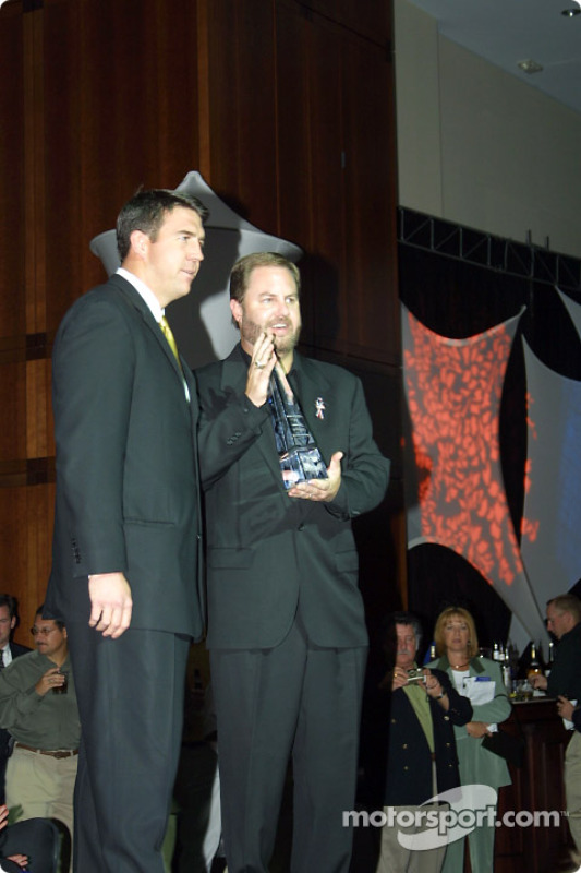 Director of Indy Racing League Marketing Matt McCartin presented the Promoter of the Year award to Eddie Gossage, executive vice president and general manager of Texas Motor Speedway