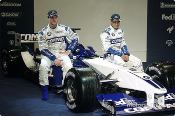 Ralf Schumacher and Juan Pablo Montoya with the new 2002 WilliamsF1 BMW FW24