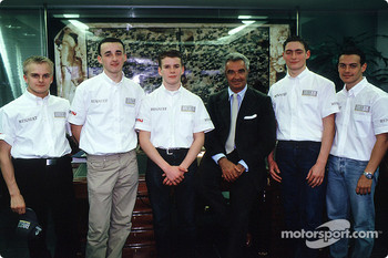 Flavio Briatore with the young drivers