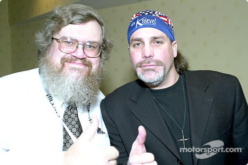 Motorsport.com's Greg Gage with Robbie Knievel