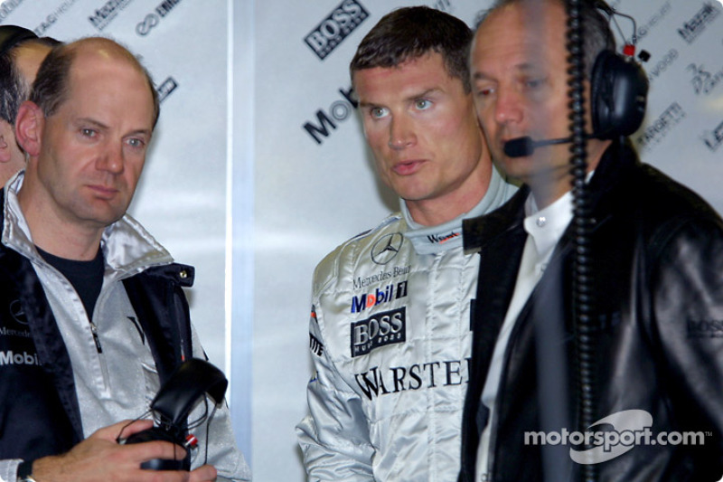 Adrian Newey, David Coulthard and Ron Dennis