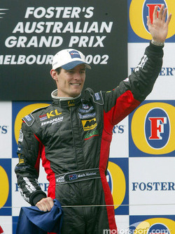 Mark Webber celebrating on the podium