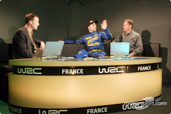 Petter Solberg in the C4 TV studio
