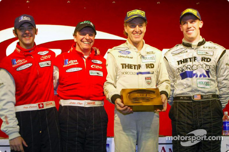 The SRP podium finishers at the Grand American 400