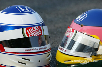 Olivier Panis and Jacques Villeneuve's helmets