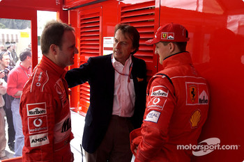 Rubens Barrichello, Luca di Montezemelo and Michael Schumacher