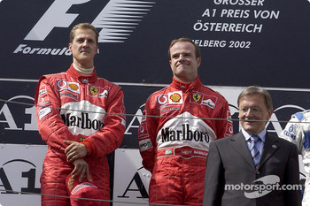 The podium: Michael Schumacher and Rubens Barrichello