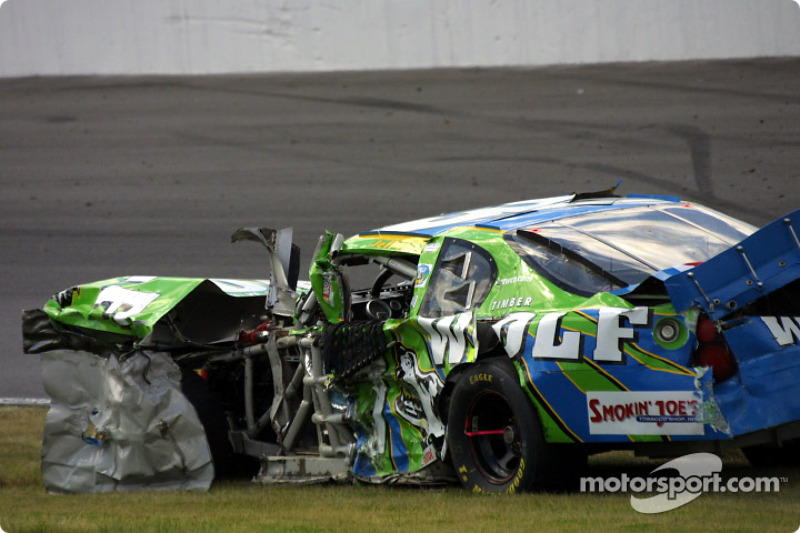Jeff Purvis' car after the crash with Greg Biffle