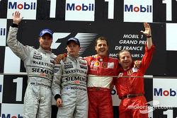 The podium: David Coulthard, Kimi Raikkonen, Michael Schumacher and Jean Todt