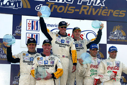 The GTS podium: winners Andy Pilgrim and Kelly Collins with Ron Fellows, Johnny O'Connell, Emanuele Naspetti and Mimmo Schiattarella