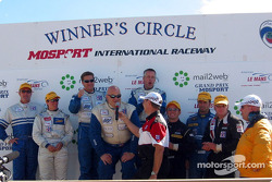 The LMP 675 podium: winners Jeff Bucknum, Bryan Willman and Chris McMurry with Ross Bentley, Melanie Paterson, Ben Devlin, David Sterenberg and Marc-Antoine Camirand