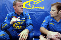 Tommi Makinen with engineer Phil Keed