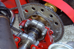 Detail of the rear sprocket of the Birel Motorsport 100cc kart, after testing session