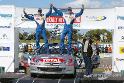 The podium: Rally winner and WRC 2002 Champion Marcus Gronholm