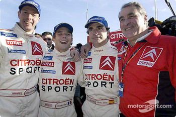 Rally winner Sbastien Loeb celebrates with Carlos Sainz, Colin McRae and Guy Frquelin