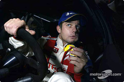 Sébastien Loeb has a quick bite