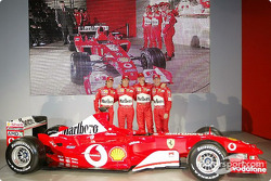 Felipe Massa, Luca Badoer, Michael Schumacher and Rubens Barrichello with the new Ferrari F2003-GA