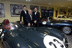 Sir Stirling Moss poses with Jaguar F1 drivers Mark Webber and Antonio Pizzonia at the launch of the NSPCC Coventry Campaign
