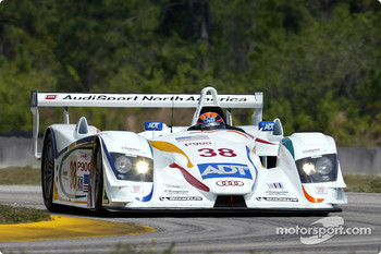 J.J. Lehto testing the Audi R8 for the first time at Moroso (Florida)