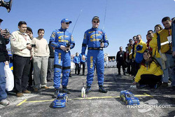 Petter Solberg and Tommi Makinen have fun
