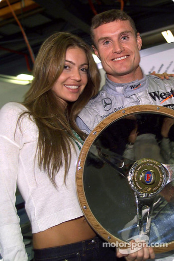 David Coulthard and girlfriend Simone celebrate win