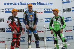 Race 2 podium: race winner Michael Rutter with Shane Byrne and Glen Richards