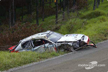 Armin Schwarz' wrecked car