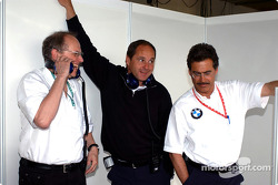 Dr Burkard Goeschel (Board member for Development BMW Group) with Gerhard Berger and Dr Mario Theissen