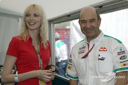 German supermodel Nadja Auermann with a happy Peter Sauber