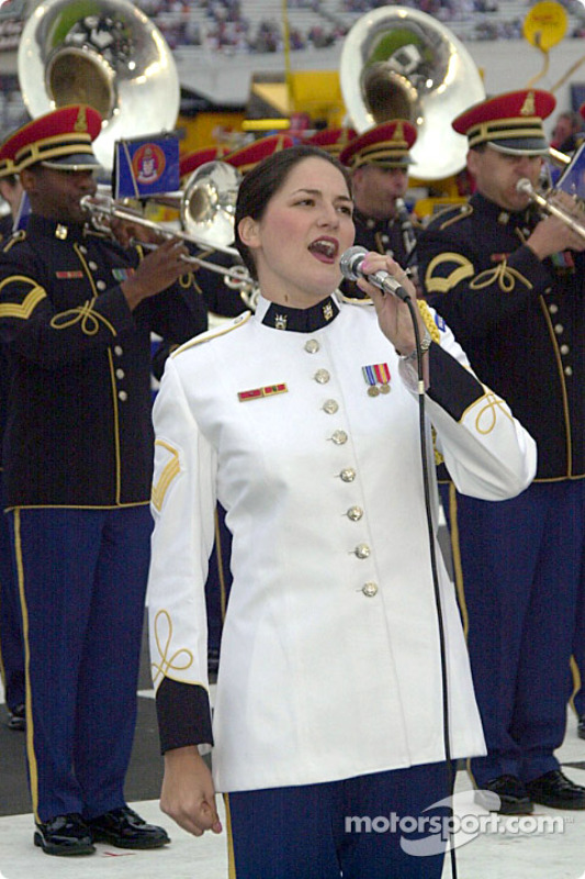 Singing a medley of patriotic songs