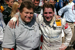 Race winner Christijan Albers celebrates with Norbert Haug
