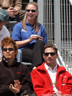 Shinji Nakano, Felipe Giaffone and Sarah Fisher