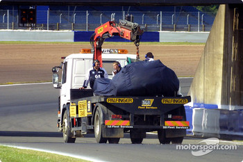 Juan Pablo Montoya's car back on flatbed truck