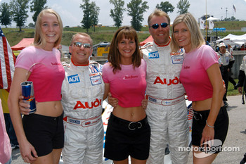 Road Atlanta girls with J.J. Lehto and Johnny Herbert