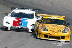 #98 Schumacher Racing Porsche GT3 RS: Larry Schumacher, B.J. Zacharias, and #59 Brumos Racing Porsche Fabcar: Hurley Haywood, J.C. France