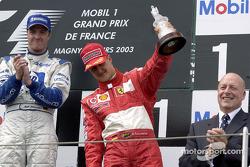 The podium: third place for Michael Schumacher