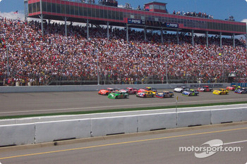 The start: Tony Stewart and Bobby Labonte lead the field
