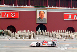 Emanuele Pirro in the Audi R8 in front of the entrance of Beijing's