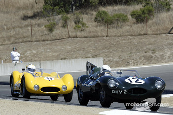 #12 1954 Jaguar D-Type followed closely by #11 1960 Maserati T-60