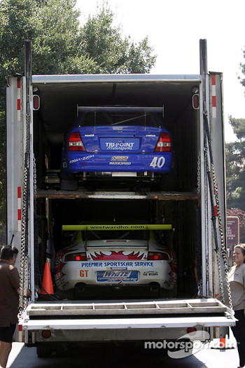 Unloading cars for the Mini Le Mans of San Jose